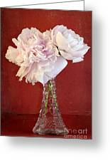 Dramatic Peonies Over Red Greeting Card
