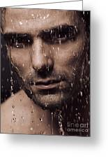 Dramatic Portrait Of Man Face With Water Pouring Over It Greeting Card