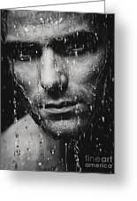 Dramatic Portrait Of Man Wet Face Black And White Greeting Card