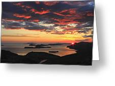 Dramatic Sunset Over Dubrovnik Croatia Greeting Card