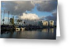 Dramatic Tropical Storm Light Over Honolulu Hawaii  Greeting Card