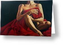 Draped In Red Greeting Card by Trisha Lambi