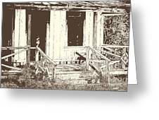 Drawing Of An Old House With Porch In Brown 3000.04 Greeting Card