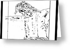 Drawing Of Christ On The Cross Greeting Card