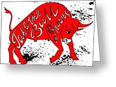 Drawing Red Angry Bull On The Grunge Greeting Card