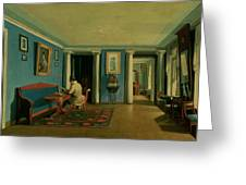 Drawing Room With Columned Entresol  Greeting Card