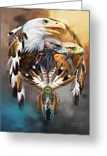 Dream Catcher - Three Eagles Greeting Card