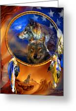 Dream Catcher - Wolf Dreams Patriotic Greeting Card
