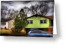 Suburban Dream - House With Blue Car Greeting Card