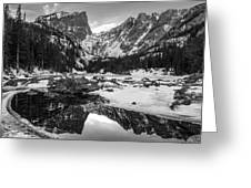 Dream Lake Reflection Black And White Greeting Card by Aaron Spong