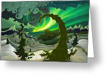 Dream Landscapes Aurora Green Greeting Card