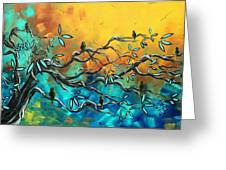 Dream Watchers Original Abstract Bird Painting Greeting Card