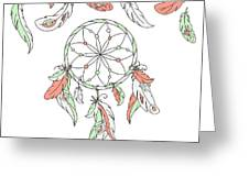 Dreamcatcher, Feathers. Vector Greeting Card