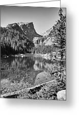 Dreaming At Dream Lake - Black And White Greeting Card