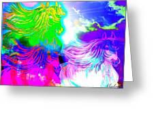 Dreaming Of Rainbow Horses Greeting Card