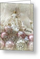 Dreamy Angel Christmas Holiday Shabby Chic Love Print - Holiday Angel Art Romantic Holiday Ornaments Greeting Card