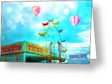 Dreamy Carnival Ferris Wheel Ticket Booth Hot Air Balloons Teal Aquamarine Blue Festival Fair Rides Greeting Card
