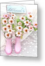 Dreamy Cottage Garden Art - Shabby Chic Pink Flowers Garden Bloom With Pink Rain Boots Greeting Card