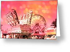 Surreal Hot Pink Orange Carnival Festival Cotton Candy Stand Candy Apples Ferris Wheel Art Greeting Card