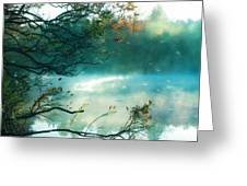 Dreamy Nature Aqua Teal Fog Pond Landscape Greeting Card by Kathy Fornal