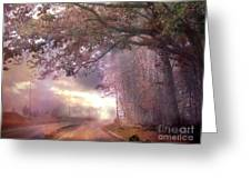 Dreamy Pink Nature Landscape - Surreal Foggy Scenic Drive Nature Tree Landscape  Greeting Card