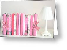 Dreamy Romantic Books Collection - Shabby Chic Cottage Chic Pastel Pink Books Photograph Greeting Card by Kathy Fornal