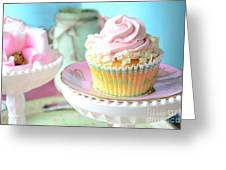 Dreamy Shabby Chic Cupcake Vintage Romantic Food And Floral Photography - Pink Teal Aqua Blue  Greeting Card