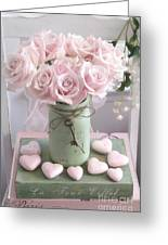 Shabby Chic Pink Roses - Romantic Valentine Roses Hearts Floral Prints Home Decor - Romantic Roses  Greeting Card