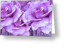 Dreamy Shabby Chic Purple Lavender Paris Roses - Dreamy Lavender Roses Cottage Floral Art Greeting Card