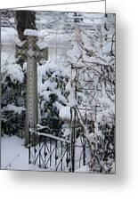 Dreamy Snowy Cross Greeting Card