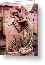 Dreamy Surreal Beautiful Angel Art Photograph - Angel Mourning Weeping At Gravestone  Greeting Card