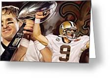 Drew Brees New Orleans Saints Quarterback Artwork Greeting Card