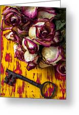 Dried Pink Roses And Key Greeting Card