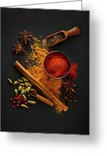 Dried Spices On Black Slate Greeting Card