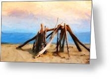 Driftwood Sculpture At Rincon Greeting Card by Ron Regalado