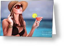 Drink Cocktail On The Beach Greeting Card