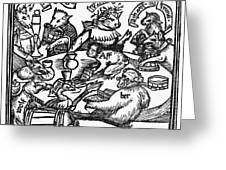 Drinking Party, 1516 Greeting Card