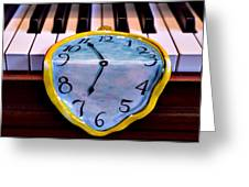 Dripping Clock On Piano Keys Greeting Card by Garry Gay