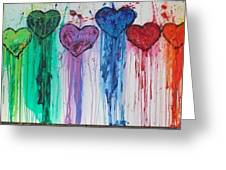Dripping Hearts Greeting Card