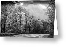Drive Through The Mountains Bw Greeting Card
