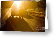 Driving Into The Sun Greeting Card by Colin and Linda McKie