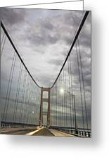 Driving The Mackinac Bridge  Greeting Card