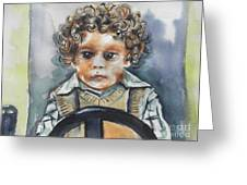 Driving The Taxi Greeting Card