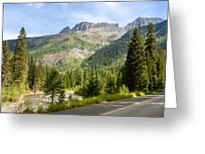 Driving Through Glacier National Park Greeting Card