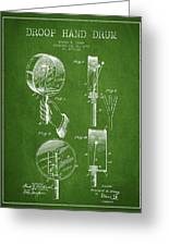 Droop Hand  Drum Patent Drawing From 1892 - Green Greeting Card