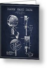 Droop Hand  Drum Patent Drawing From 1892 - Navy Blue Greeting Card