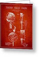 Droop Hand  Drum Patent Drawing From 1892 - Red Greeting Card