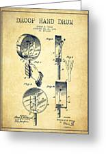 Droop Hand  Drum Patent Drawing From 1892 - Vintage Greeting Card