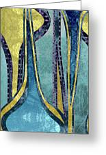 Droplet Ornaments In Navy Blue And Gold Greeting Card