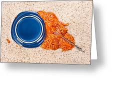 Dropped Plate Of Spaghetti On Carpet Greeting Card
